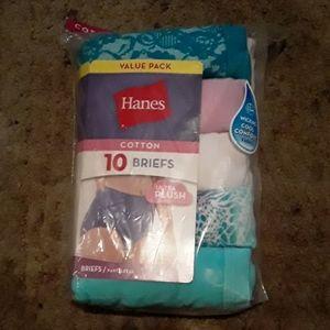 NWT Hanes 10 Pack  Tagless Cotton Briefs 8/ XL